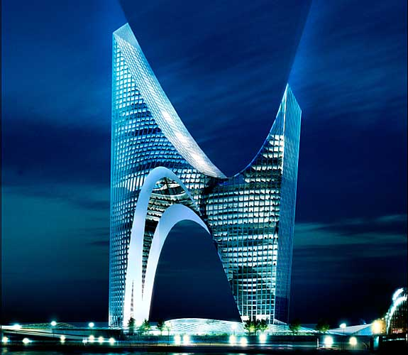 Proposed design for Gazprom HQ, St Petersburg, by Daniel Libeskind