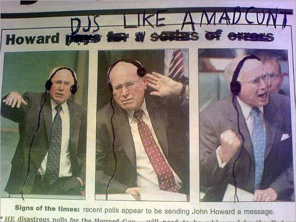 Photograph of newspaper images of John Howard, modified to add hand-drawn headphones to make him look like a DJ