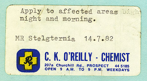 Photograph of pharmacist's medicine label, reading 'Mr. Stelgternia' [sic], dated 14 July 1982