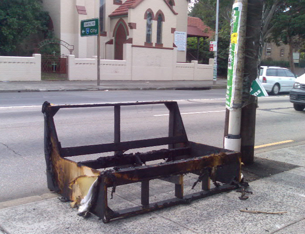 Photograph of burnt-out sofa on Stanmore Road, Enmore
