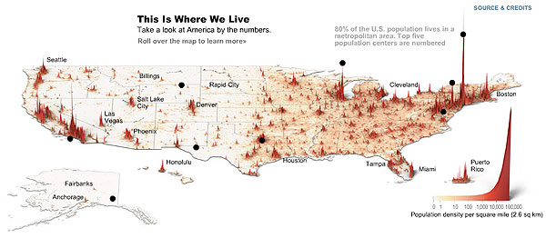 Population density map of the US