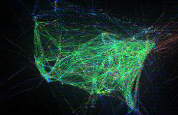 Time lapse video of aircraft flight patterns over the USA