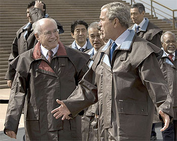 Photograph of John Howard with George W Bush