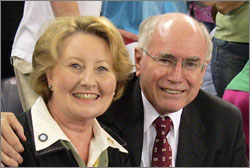 Photograph of John Howard and Janelle Howard at the Commonwealth Games in 2006