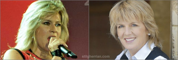 Photography comparing Samantha Fox with Julie Bishop