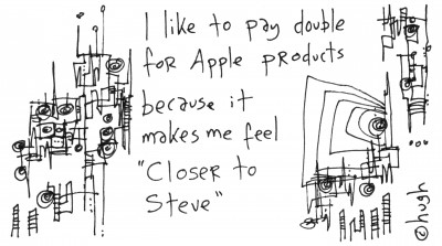 Gaping Void cartoon: I like to pay double for Apple products because it makes me feel Closer to Steve