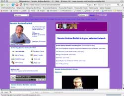 Screenshot of Senator Andrew Bartlett MySpace, 18 October 2007