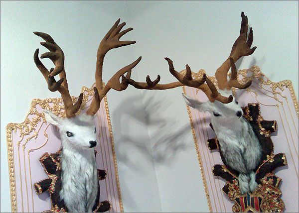 Photograph of mixed media artwork Royal Stags by Kate Rohde