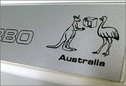 Photograph of Porsche 2400 Turbo hand dryer, with an image of a kangaroo and an emu drying their hands