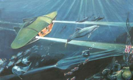 Painting of Flying Sub from Voyage to the Bottom of the Sea