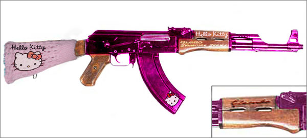 Photograph of Hello Kitty-branded AK-47