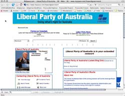 Screenshot of John Howard MySpace, 18 October 2007