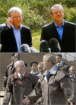 Photographs of Kevin Rudd with Al Gore, and John Howard with George W Bush
