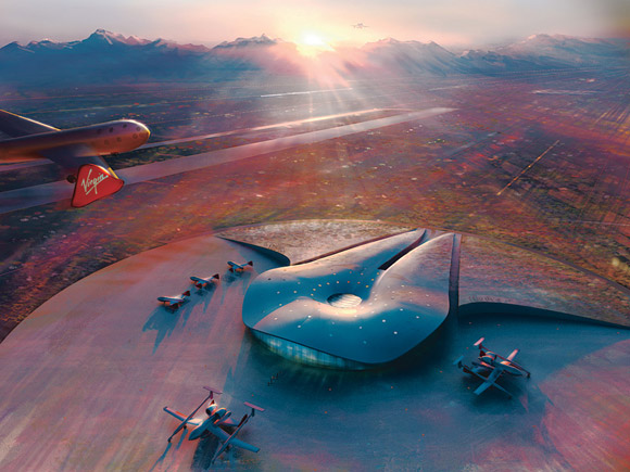 Artists impression of Spaceport America