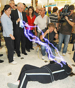 Photo of John Howard destroying a voter with strange forces