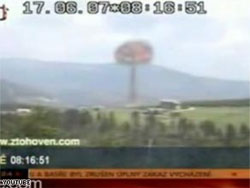 Screenshot of fake nuclear explosion on Czech TV