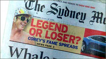 Photograph of Sydney Morning Herald front page, 16 January 2008