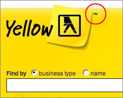 Section of screenshot of Yellow Pages website taken today