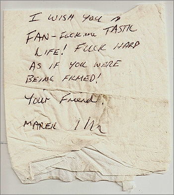 Photograph of note written on tissue paper