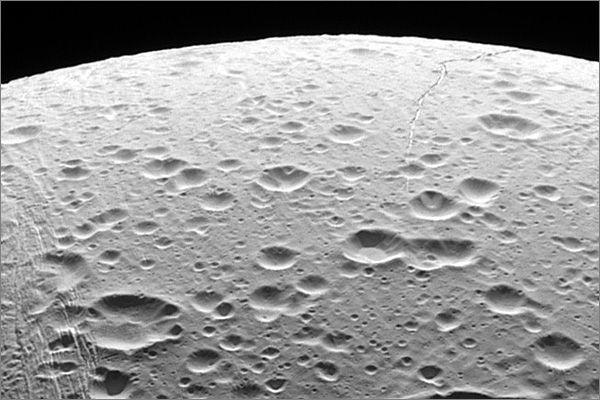 Photograph of the northern pole of Enceladus, a moon of Saturn, taken from the Cassini spacecraft