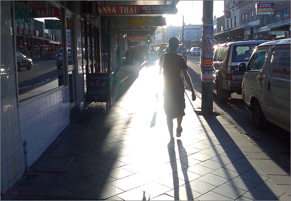 Photograph of skateboarder in Enmore at sunset today
