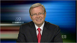 Photograph of Kevin Rudd from The 7.30 Report