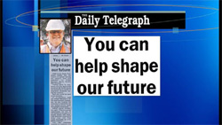 Screenshot from Media Watch showing headline from Daily Telegraph: You can help shape our future