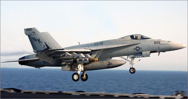 Photograph of US Navy F-18E Super Hornet aircraft