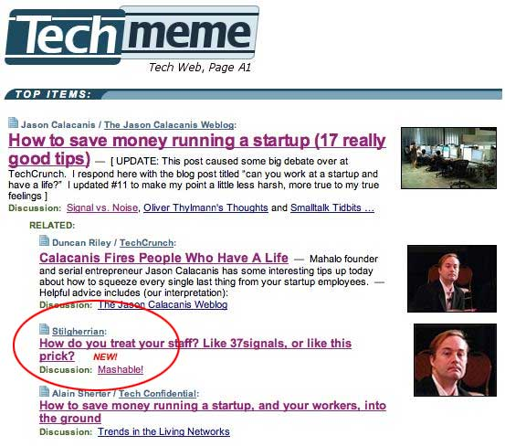 Screenshot from Techmeme showing my article in the top story listings