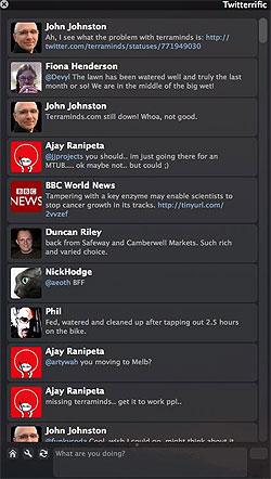 Screenshot of Twitter client Twitterific for Mac  OS X