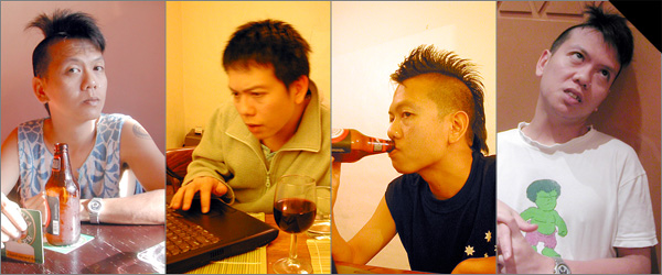 4 photographs of Trinn Suwannapha. In 3 of them he is drinking. In one he looks exhausted.
