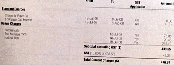Vodafone bill showing $476.91 owed