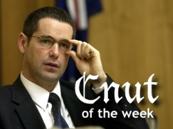 Photograph of Senator Stephen Conroy labelled Cnut of the Week