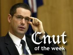 Photograph of Senator Stephen Conroy labelled Cnut of the Week