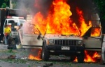Photograph of burning Jeep Cherokee which exploded in Bangkok on 7 October 2008