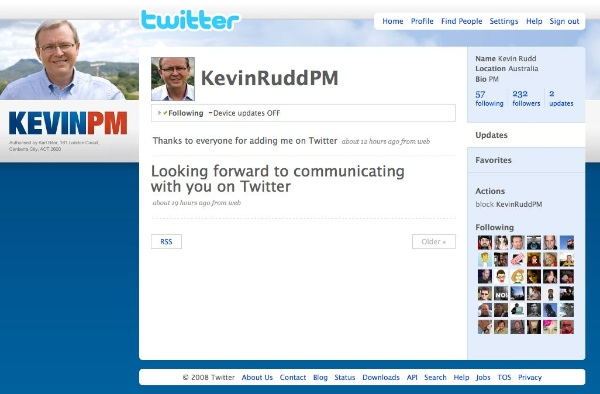 Screenshot of Prime Minister Kevin Rudd's second tweet: Thanks to everyone for adding me on Twitter