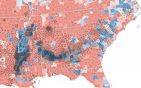 Map showing correlation between US cotton production in 1860 and votes for Barack Obama in 2008