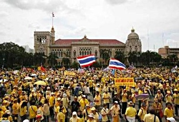 Photo of PAD protesters occupying the grounds of Government House in Bangkok