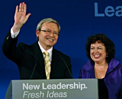 Photograph of Kevin Rudd declaring election victory