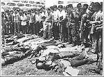 Photo of dead students after the massacre or Thammasat University in 1976