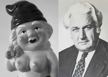 Photos comparing bare-breasted garden gnome with John Kerr