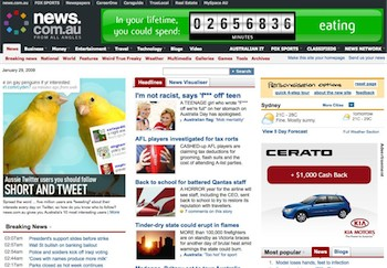 Screenshot of NEWS.com.au home page