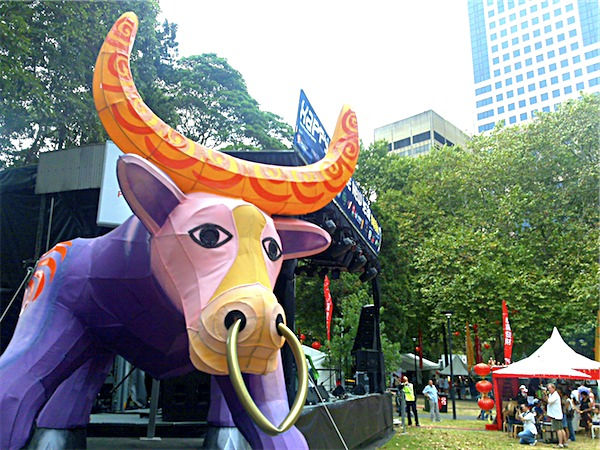 Photograph of giant paper-lantern ox for Chinese New Year