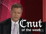 Screenshot of Andrew Bolt as Cnut of the Week