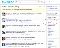 Screenshot of Twitter Search showing #fisting as the number one trending topic