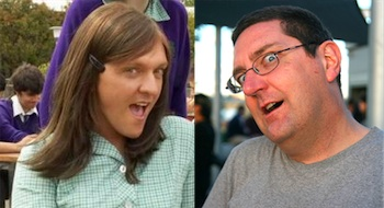 Photographs of fictional Ja'mie King and Stilgherrian