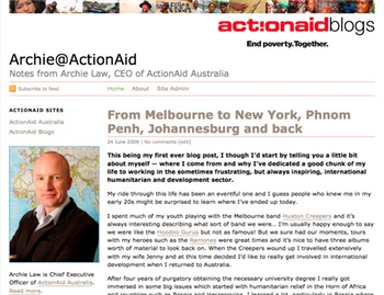 Screenshot of Archie@ActionAid, the first ActionAid blog: click to go there