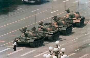 Tank Man — This famous photo, taken on 5 June 1989 by photographer Jeff Widener, depicts an unknown man halting the PLA's advancing tanks near Tiananmen Square.