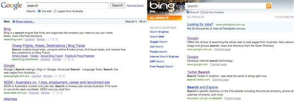 "Screenshots of Google and Bin searches for ""search"": click for a closeup"