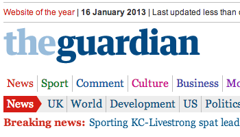 The Guardian masthead: click for media release